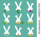 cute white rabbits eating a... | Shutterstock .eps vector #1400247341