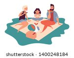 happy family on a picnic. dad ... | Shutterstock .eps vector #1400248184