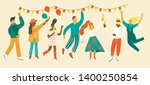 people celebrating party... | Shutterstock .eps vector #1400250854