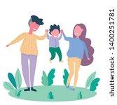 family spending time together... | Shutterstock .eps vector #1400251781