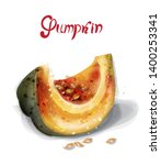 pumpkin slice vector watercolor.... | Shutterstock .eps vector #1400253341