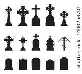 gravestones and tombstones... | Shutterstock .eps vector #1400253701