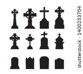 gravestones and tombstones... | Shutterstock .eps vector #1400253704