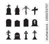 gravestones and tombstones... | Shutterstock .eps vector #1400253707
