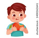 kid eats a red mango with a... | Shutterstock .eps vector #1400262641