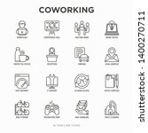 coworking office thin line... | Shutterstock .eps vector #1400270711