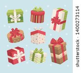 gift box set. vector present... | Shutterstock .eps vector #1400273114