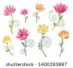 set of watercolor floral... | Shutterstock . vector #1400283887