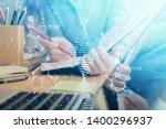 dna theme hologram over woman's ... | Shutterstock . vector #1400296937