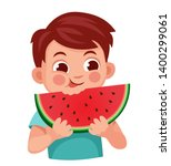 kid eats a red watermelon with... | Shutterstock .eps vector #1400299061