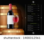 wooden barrel with wine bottle... | Shutterstock .eps vector #1400312561