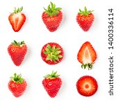 Small photo of Fresh strawberries collection isolated on white background. Healthy eating and dieting concept. Spring fruits arrangement. Object group, top view, flat lay, design element