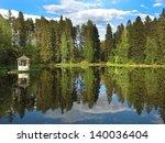 English Park With A Lake Gazebo ...