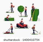 professional gardener using... | Shutterstock .eps vector #1400410754