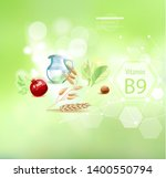 vitamin b9 on an abstract... | Shutterstock .eps vector #1400550794