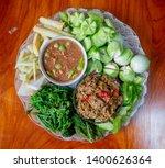 Stock photo fried mackerel with shrimp paste sauce and scald vegetable nam prik kapi pla too thai food 1400626364