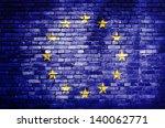 European Unionflag On Brick Wall