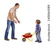 Father and son doing playing with some construction work stuff - stock photo