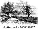 dirt road where a man walking...   Shutterstock .eps vector #1400652017