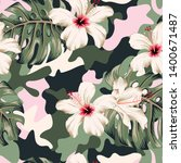 tropical hibiscus flowers ... | Shutterstock .eps vector #1400671487