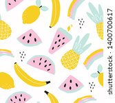 seamless fruit pattern with... | Shutterstock .eps vector #1400700617