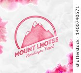 Lhotse logo. Round mountain red vector insignia. Lhotse in Himalayas, Nepal outdoor adventure illustration. Climbing, trekking, hiking, mountaineering and other extreme activities logo template.