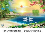 Stock photo illustration of romatic swan couple over blue lake water natural decorative sunshine background d 1400790461