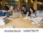 students sitting at a table in... | Shutterstock . vector #140079079