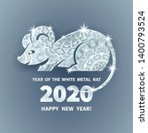 white metal rat is a symbol of... | Shutterstock .eps vector #1400793524
