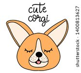 Stock photo corgi dog breed lettering illustration cute puppy with closed eyes in flat cartoon style with 1400813627