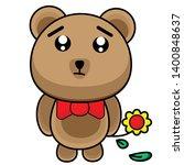 sad bear cartoon vector clipart | Shutterstock .eps vector #1400848637