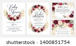 wedding invitation set marsala... | Shutterstock .eps vector #1400851754