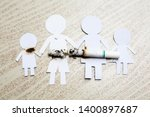 paper cut of family destroyed... | Shutterstock . vector #1400897687