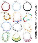 set of necklaces isolated on... | Shutterstock .eps vector #140099887