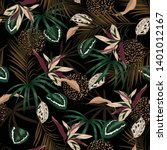 dark tropical jungle and... | Shutterstock .eps vector #1401012167