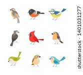 set of colorful birds isolated... | Shutterstock . vector #1401031277