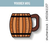 wooden mug for beer  water and...   Shutterstock .eps vector #1401061157