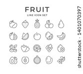 set line outline icons of fruit | Shutterstock .eps vector #1401070397