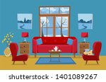 living room in yellow red blue... | Shutterstock . vector #1401089267