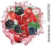 berries mix into of burst... | Shutterstock .eps vector #1401093701