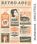 retro newspaper ads collection... | Shutterstock .eps vector #1401175511