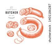retro vector meat illustration. ... | Shutterstock .eps vector #1401186287