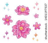 magic peony and rose flowers.... | Shutterstock .eps vector #1401197537