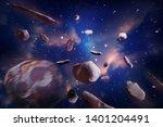 meteorites in space of night... | Shutterstock . vector #1401204491