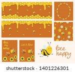 vector honey banners. cartoon... | Shutterstock .eps vector #1401226301
