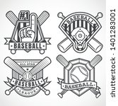 baseball badges in black and... | Shutterstock .eps vector #1401283001