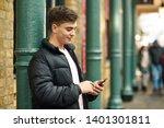 young urban man using... | Shutterstock . vector #1401301811