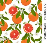 seamless pattern orange fruit... | Shutterstock .eps vector #1401302177
