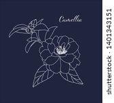 hand drawn outline camellia... | Shutterstock .eps vector #1401343151
