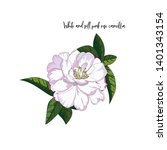 hand drawn white and pink rose... | Shutterstock .eps vector #1401343154